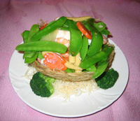Special Seafood and Snow Peas in a Nest